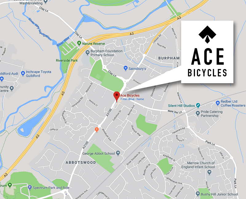 Ace Bicycles Guildford Location Map